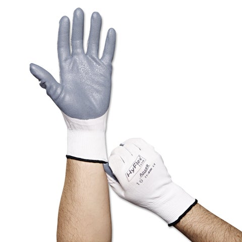 AnsellPro HyFlex Foam Gloves White/Grey Size 10 12 Pairs