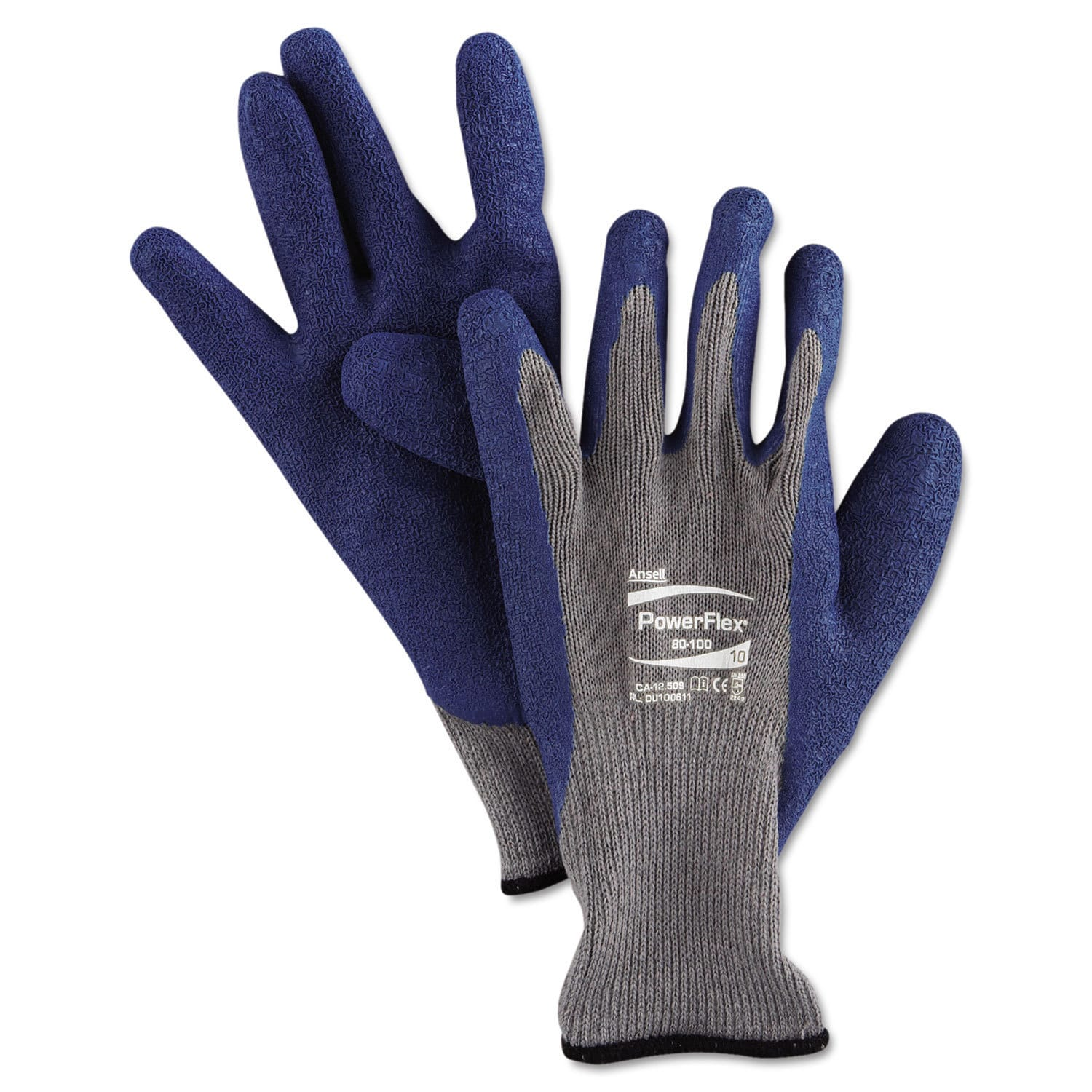 ANSELL PowerFlex Gloves Blue/Grey Size 10 12 Pairs (Blue/...