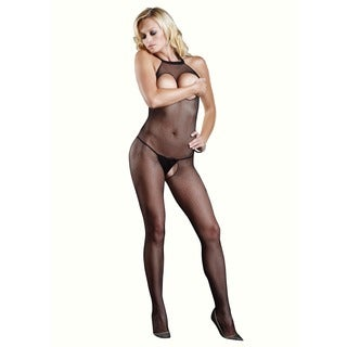 Leg Avenue Seamless Fishnet Halter Bodystocking with Openings