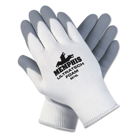 Memphis ULettera Tech Foam Seamless Nylon Knit Gloves Large White/Grey Pair