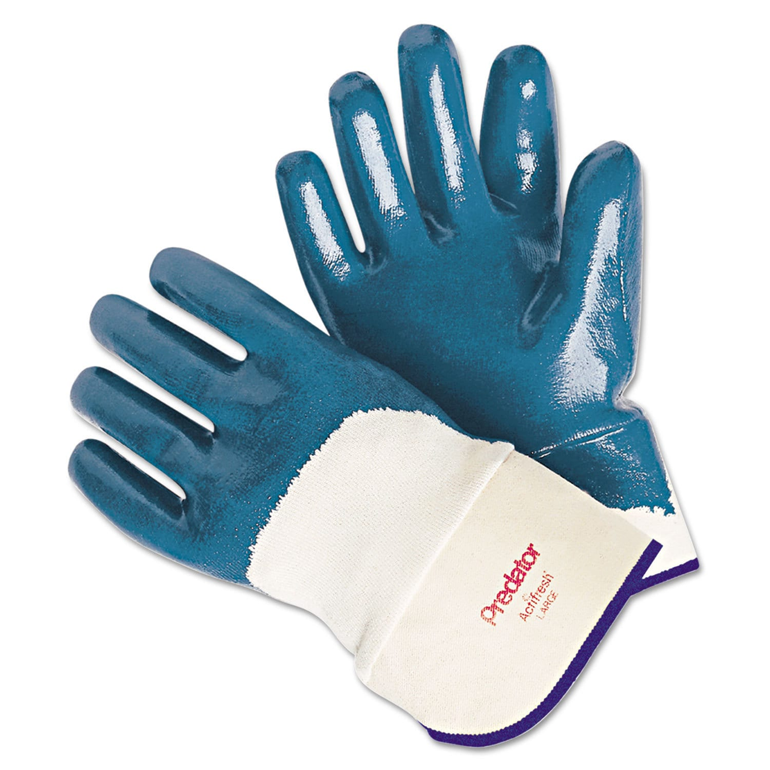 MEMPHIS Predator Nitrile Gloves Blue/White Large 12 Pairs...