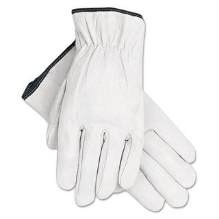 Memphis Grain Goatskin Driver Gloves White Extra-Large 12 Pairs