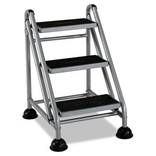 Cosco Rolling Commercial Step Stool 3-Step 26 3/5 Spread Platinum/Black