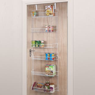 Everyday Home 5 Foot Overdoor Rack with 6 Baskets - White|https://ak1.ostkcdn.com/images/products/13937518/P20568692.jpg?impolicy=medium