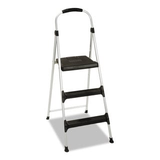 Cosco Aluminum Step Stool 3-Step 225lb 28 29/64-inch Working Height Platinum/Black