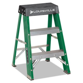 Louisville #624 Folding Fiberglass Locking 2-Step Stool 17-inch wide x 22 Spread x 24-inch high