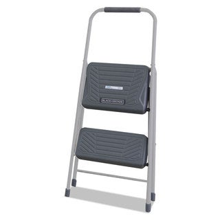 Louisville Black and Decker Steel Step Stool Two-Step 200-pound Capacity Grey