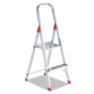 Louisville #566 Folding Aluminum Euro Platform Ladder 2-Step Red