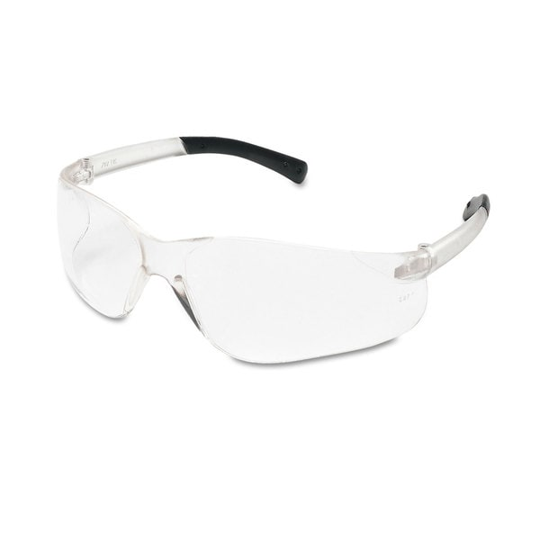 Crews BearKat Safety Glasses Wraparound Black Frame/Clear Lens