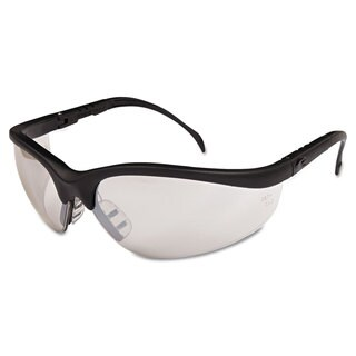 Crews Klondike Safety Glasses Black Matte Frame Clear Mirror Lens