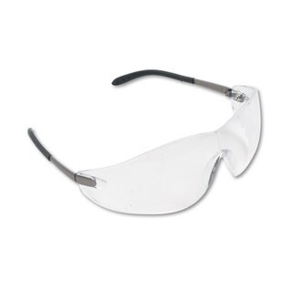 Crews Blackjack Wraparound Safety Glasses Chrome Plastic Frame Clear Lens