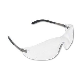 Crews Blackjack Wraparound Safety Glasses Chrome Plastic Frame Clear Lens