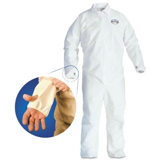 KleenGuard A40 Breathable Back Coverall with Thumb Hole White/Blue Large 25/Carton