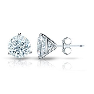 Auriya GIA Certified 14k White Gold 3-Prong Martini 1.00 ct. TDW (G-H, VVS1-VVS2) Push Back Round Diamond Stud Earrings
