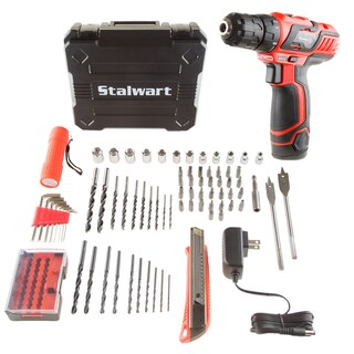 Stalwart 12V Lithium Ion 75 Pc 2 Speed Drill and Accessory Tool Set