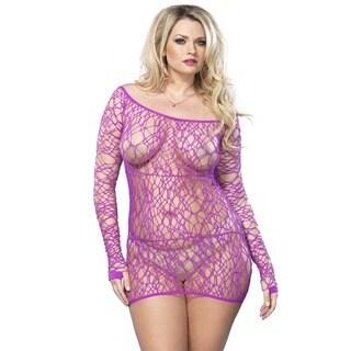 Leg Avenue Web Net Long Sleeve Plus-size Mini Dress