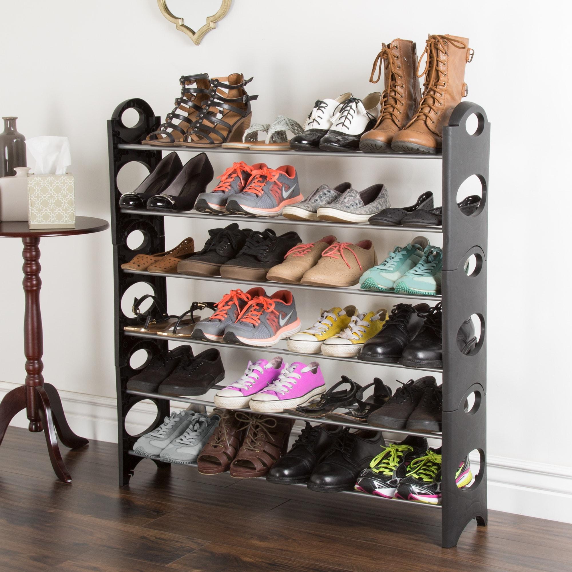 Everyday Home 6 Tier Stackable Shoe Rack 24 Pair Capacity - Black