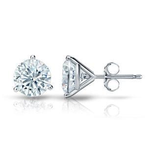 Auriya GIA Certified 14k White Gold 3-Prong Martini 3.00 ct. TDW (G-H, VVS1-VVS2) Push Back Round Diamond Stud Earrings
