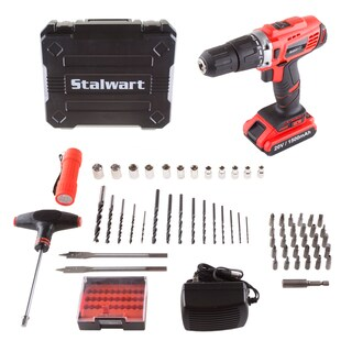 Stalwart 20V Lithium Ion 62 Pc 2 Speed Hammer Drill and Accessory Kit
