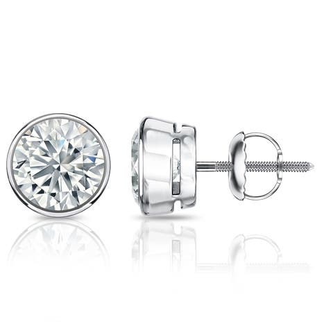 Auriya Platinum 3 1/4ctw Round Bezel Set Diamond Stud Earrings Certified