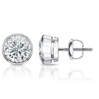 Platinum 3 1/4ct TDW Certified Round Bezel Set Diamond Stud Earrings by Auriya
