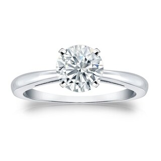 Auriya EGL USA Certified 14k White Gold 4-Prong 2 ct. TDW Round-Cut Diamond Solitaire