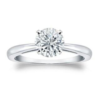 Auriya EGL USA Certified 14k White Gold 4-Prong 1 ct. TDW Round-Cut Diamond Solitaire