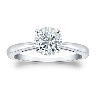 Auriya GIA Certified 14k White Gold 4-Prong 1 ct. TDW (E-F, SI1-SI2) Round-Cut Diamond Solitaire Engagement Ring