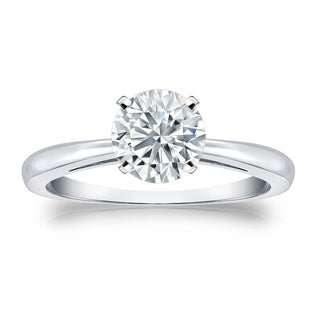 Auriya 3ctw Round Solitaire Diamond Engagement Ring 14K Gold GIA Certified