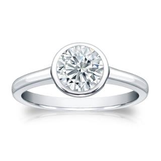 Auriya GIA Certified 18k White Gold Bezel Setting 3 ct. TDW Round-Cut Diamond Solit