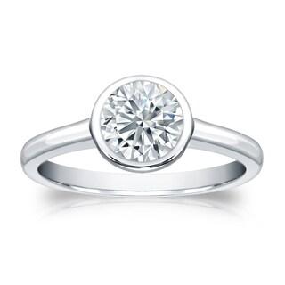 Auriya EGL USA Certified 18k White Gold Bezel Setting 1 ct. TDW (K-L, VS1-VS2) Round-Cut Diamond Solitaire Engagement Ring