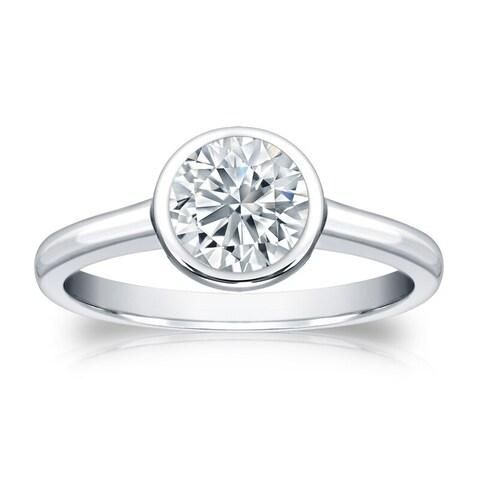 Auriya 18k Gold GIA Certified 3.00ct TDW Solitaire Bezel Set Diamond Engagement Ring