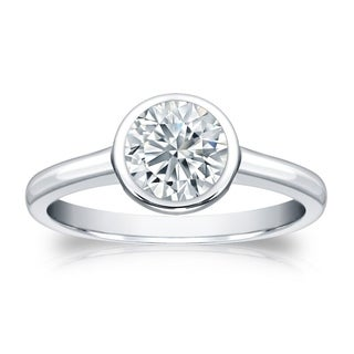 Auriya 18k Gold GIA Certified 3.00ct TDW Bezel Set Round Diamond Solitaire Engagement Ring (More options available)
