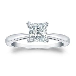 Auriya GIA Certified 14k White Gold V-End Prong 3 ct. TDW Princess-Cut Diamond Soli