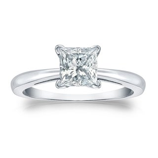 Auriya EGL USA Certified 14k White Gold V-End Prong 1.50 ct. TDW (K-L, I1-I2) Princess-Cut Diamond Solitaire Engagement Ring