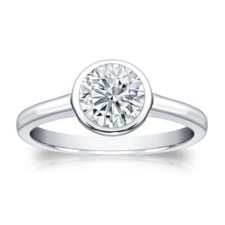 Auriya GIA Certified 14k White Gold Bezel Setting 1.25 ct. TDW (I-J, I1-I2) Round-Cut Diamond Solitaire Engagement Ring