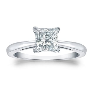 Auriya GIA Certified 14k White Gold V-End Prong 3 ct. TDW (K-L, SI1-SI2) Princess-Cut Diamond Solitaire Engagement Ring
