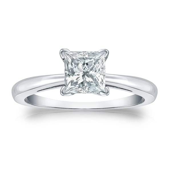 Auriya 3 carat TW Princess-cut Solitaire Diamond Engagement Ring Platinum GIA Certified. Opens flyout.