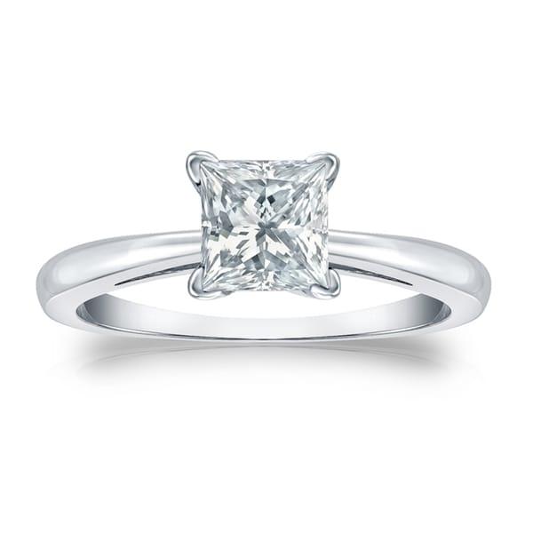 Auriya Platinum 3.00-Carat GIA Certified Princess-Cut Diamond Solitaire Engagement Ring