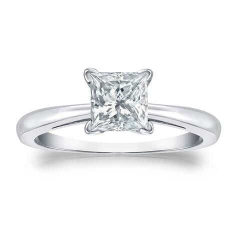 Auriya 3 carat TW Princess-cut Solitaire Diamond Engagement Ring Platinum GIA Certified