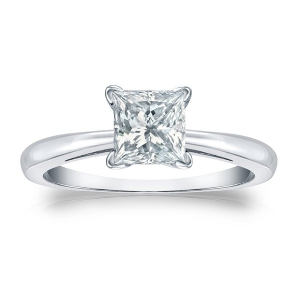 Auriya Platinum 3ctw Princess-Cut Solitaire Diamond Engagement Ring GIA Certified