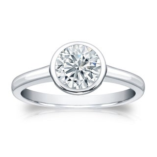 Auriya GIA Certified 14k White Gold Bezel Setting 3 ct. TDW Round-Cut Diamond Solit