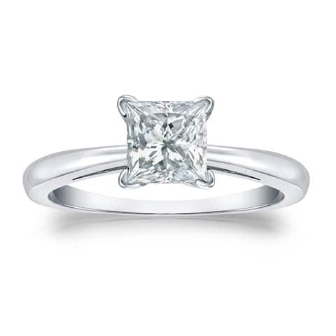 Auriya 18k Gold 1 1/2ctw Princess-cut Solitaire Diamond Engagement Ring GIA Certified