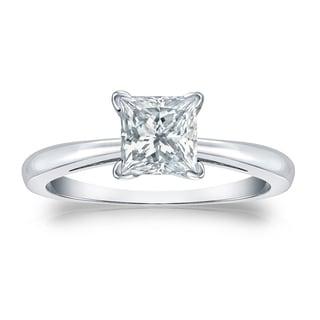 Auriya GIA Certified 18k White Gold V-End Prong 1 ct. TDW (K-L, VS1-VS2) Princess-Cut Diamond Solitaire Engagement Ring