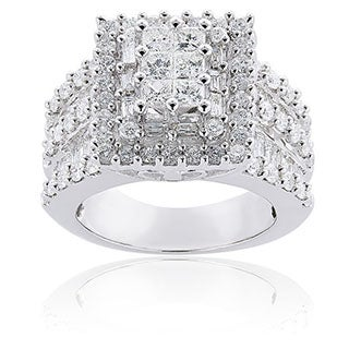 Annello by Kobelli 14k White Gold 2ct TDW Princess-cut Pave Diamond Ring (H-I, I2-I3)