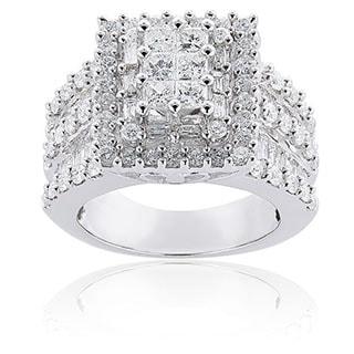 Annello by Kobelli 14k White Gold 2ct TDW Princess-cut Pave Diamond Ring by Kobelli (H-I, I2-I3)