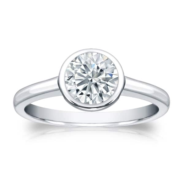 Auriya 14k Gold 3ctw Solitaire Diamond Engagement Ring Bezel Set Gia Certified On Sale Overstock 13938992
