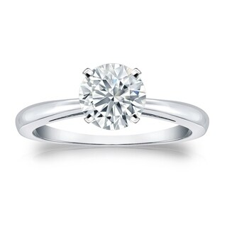 Auriya GIA Certified 14k White Gold 4-Prong 3 ct. TDW Round-Cut Diamond Solitaire Eng