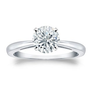 Auriya GIA Certified 14k White Gold 4-Prong 2.25 ct. TDW Round-Cut Diamond Solitaire