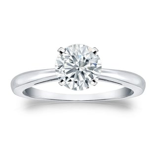 Auriya GIA Certified 14k White Gold 4-Prong 2 ct. TDW (K-L, SI1-SI2) Round-Cut Diamond Solitaire Engagement Ring
